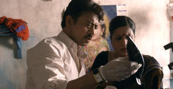 Ashwin Kumar (Irrfan Khan) examines a kukri. Could this be the murder weapon?
