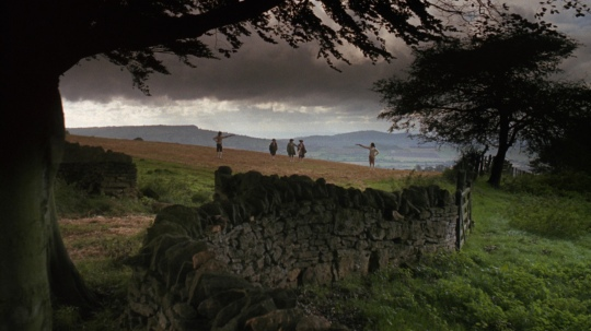 The opening shot of Barry Lyndon presenting Redmond Barry's father's death in long shot