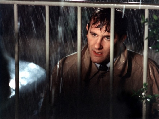 David caught in the rain and behind the front gate of Lise's house – the perfect image of a man trapped in his obsessive and doomed desire?