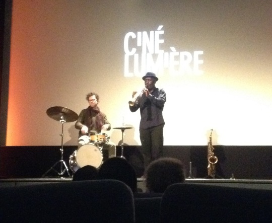 Tony Kofi on stage at the Ciné Lumiere. (Unfortunately I didn'tcatch the name of the drummer.)