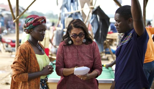 Lupita-N'Yongo, Mira Nair and David Oyelowo on set for Queen of Katwe
