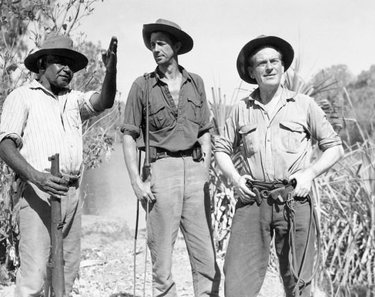 (from left) Clyde Combo as Jacky, Chips Rafferty as Dan McAlpine and John Heyward as Bill Parsons